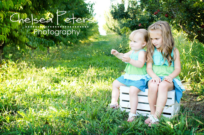 Little girls in orchard