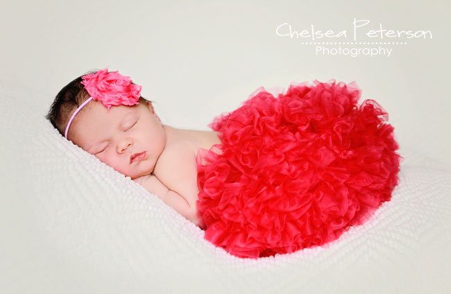 newborn in Red tutu